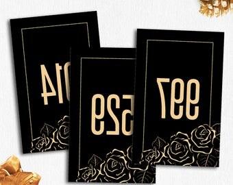 Black/Gold Mirrored Live Sale Numbers, Facebook Reverse Live Sale Tags, 000-999, 5 PDF Files, Reverse Numbers, Llr Live Cards