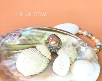 Golden South Sea Pearl Ring in 14K Gold