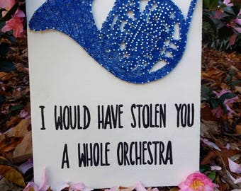 CUSTOM HIMYM How I Met Your Mother String Art, I Would Have Stolen You A Whole Orchestra Thread Art, Blue French Horn String and Nails Decor