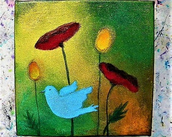 Original painting, fairy field, poppies and blue dove, small painting, acrylic, mystical art