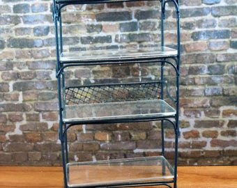 Dollhouse miniature furniture in twelfth scale or 1:12 scale.  Green wire and glass étagère or baker's rack. Item #359.
