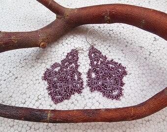 Grey pink tatting earrings, filigree lace earrings, tatted lace jewelry,  purple chandelier earrings, frivolite jewelry