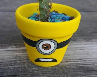 Minion character handpainted terra cotta pot flowerpot
