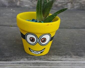 Minions character handpaint terra cotta pot flowerpot minion