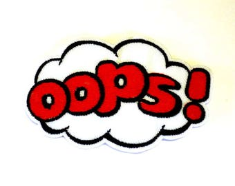 OOPS! on a White Cloud Sew on or Iron on Patch - H526