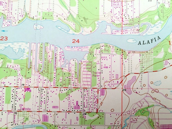 Antique Riverview Florida 1956 US Geological Survey Topographic Map Tampa Balm Pleasant Living Cristina Boyette Hillsborough County