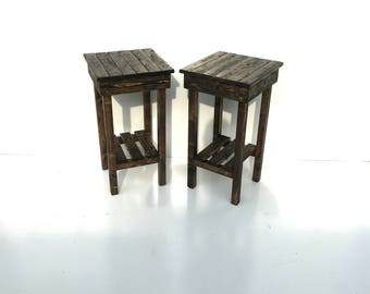 Nightstand Set/End Table Set/ Bed Side Tables/Two Rustic Night Stands/Aged/Barnwood Side Table/Vintage Farmhouse/Wood/Handmade/Custom