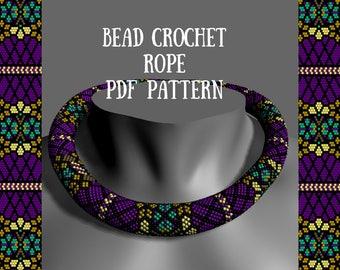 Bead crochet necklace pattern Tutorial bead necklace Tutorial crochet necklace Bead pattern Crochet rope pattern Flower purple beads pattern