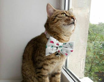 Pet bow tie with collar - Cotton bow tie for pets with non-breakaway buckles - cat & dog bow tie