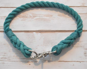 Rope Dog Collar: All natural cotton rope dog collar