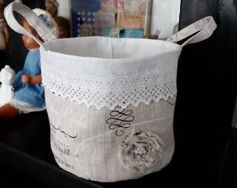 Antique lace and linen storage basket