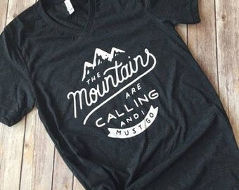 The Mountains Are Calling, Nature Lover, Mountain Shirt, Shirts for Men, Mountains Calling Shirt, Traveling Shirt, Adventure Shirt, Womens