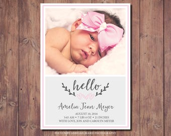 Printable Newborn Announcement, Printable Birth Announcement Card, New Baby Announcement Card, Photo Credit: AMP