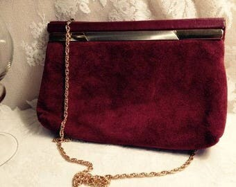 Suede Vintage Cranberry Purse