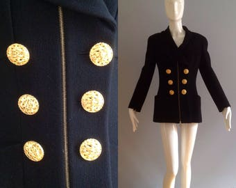 Vintage CHANEL Black Wool Blazer ~