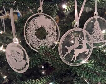 Engraved Acrylic Christmas Ornaments, Set of 4 - Santa, Reindeer, Tree, and Wreath