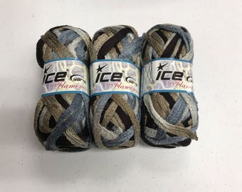 3 skeins blue, gray, brown ombre Ice specialty ruffle yarn for scarves