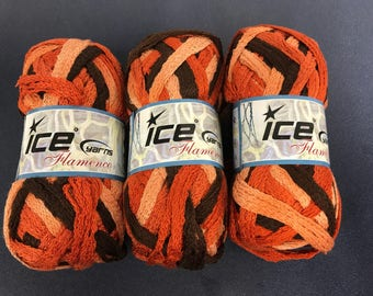 Three skeins high quality Ice brand orange and brown ombre ruffle scarf yarn from Turkey