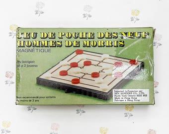 Vintage Nine Men's Morris Magnetic Travel Game | On the Go Pocket Magnetic Nine Mens Morris | Pocket Car Game | Pocket Games | Games to Go