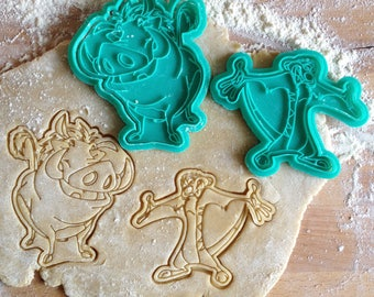 The Lion King cookie cutters set. Timon and Pumba cookie stamps. The Lion King birthday decorations