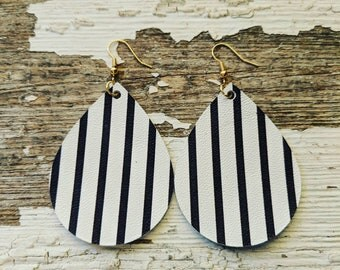 Leather Earrings~Black & White Earrings~Classic Earrings~Leather Statement Earrings