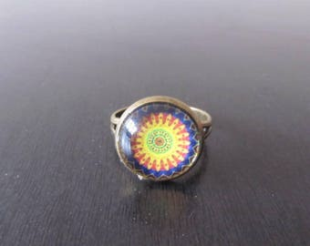 Sun pattern glass cabochon Adjustable ring