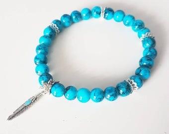 Blue marble feather bracelet