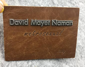 Custom leather metal label, metal leather label, leather label with metal