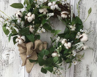 Cotton Pod Wreath, Cotton Boll Wreath, Farmhouse Wreath, Door Wreath, Natural Wreath, Rustic Cotton Wreath, Summer Wreath, Door Decor, FAAP