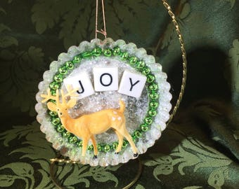 Vintage Tart Tin Ornament Filled with Vintage Glass Beads, Celluloid Deer, Glitter and JOY Letters