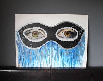"Masquerade Wall Art, Eye Painting, Blue Droplets, Original Artwork // 24""x18"" // Acrylic, Canvas Board // JasmineTerriArt"