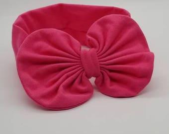 Pink bow baby headband