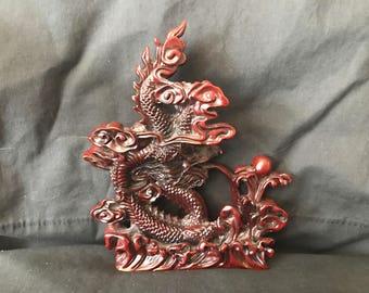 Oriental Carved Foo Dog Sculpture Mint
