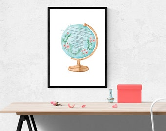 Poetry I  Original poem I Titled IMAGINE A WORLD I Poetic Art for Home Decor and Gift