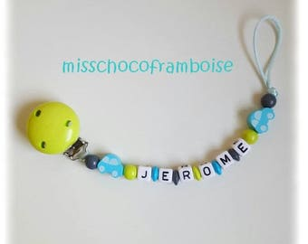 Personalized pacifier clip car wooden beads