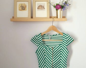 Vintage Green and White Striped Zip-Up Crop Top