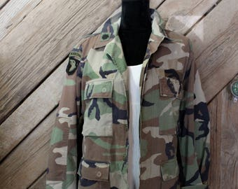 Vintage army jacket | oversized army Jacket | camouflage Jacket | army Brat Jacket | patched army jacket | patched jacket | army halloween