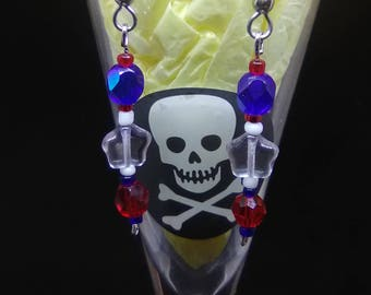 Red White and Blue long dangle earrings