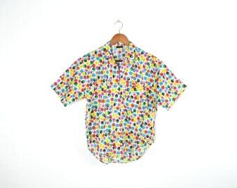Vintage 80's Pastel Flower Patterned Button Up Shirt