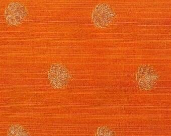 10% Off On Half Yard of Orange and Golden Zari Flower Pattern Brocade Silk Fabric, Silk Fabric by the yard, Ethnic Fabric, Brocade Fabric