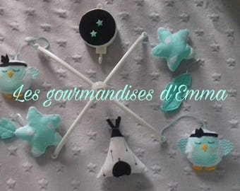 My little feathered OWL frosted theme baby mobile