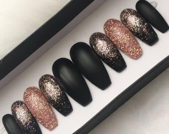 Black Rose Gold Glitter Press on Nails   Matte Fake Nails   Ombre   Pink Gold   Glitter   Handpainted Nail Art   Glue On Nails   Any Shape