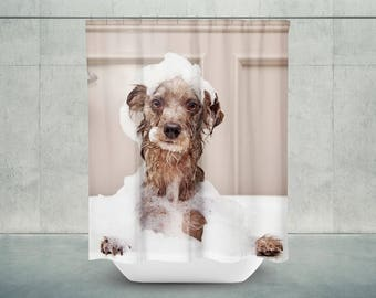 Good Soapy Dog Shower Curtain | Dog Bathroom Decor | Dog Bath Decor | Dog Shower  Decor