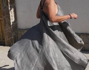 Abaya Long Maxi Dress, Oversized Linen Flare Dress, Kaftan Dress, Caftan Rope Neck Dress, Plus Size Smock Dress, Boho Gipsy Dress