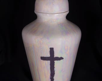 Handmade Porcelain Cremation Urn, Fine Porcelain Urn,  Marbled Porcelain Urn, Bereavement, Funeral, Memorial Keepsake