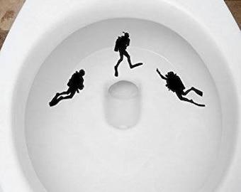 Toilet Targets Scuba Divers Aim Practice 3 Piece Collection Vinyl Decal Sticker Application Kids Fun