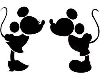 Mickey and Minnie Mouse Silhouette Disney Vinyl Decal Sticker Light Switch Kids Nursery Home Decor