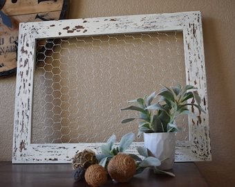White chippy Farmhouse Chickenwire Frame
