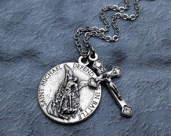 Saint Michael Necklace for Men / Defend Us in Battle / United States Army /  St Michael Necklace / Protection Necklace / Christian Jewelry
