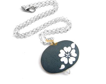 Choker necklace with flower fimo